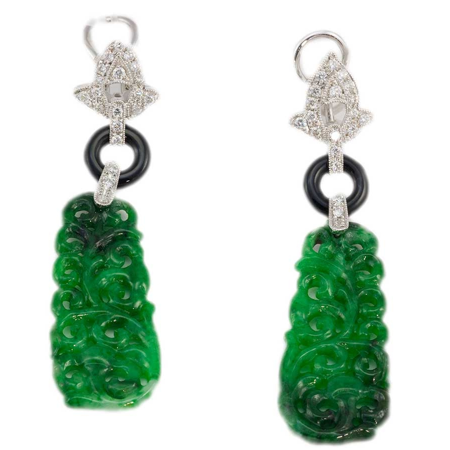 jadeite jade with diamonds earrings