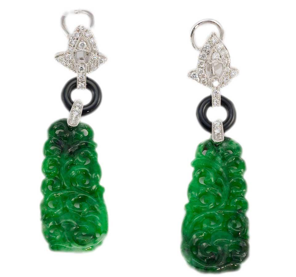jadeite jade with diamonds earrings