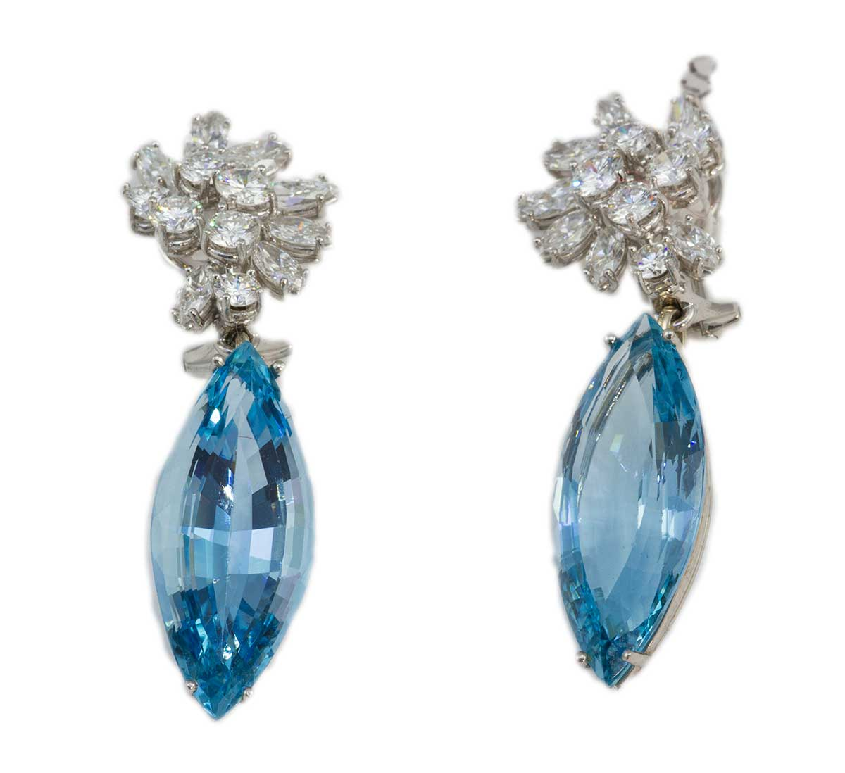Vacheron & Constantine 1950's diamond and aquamarine earrings