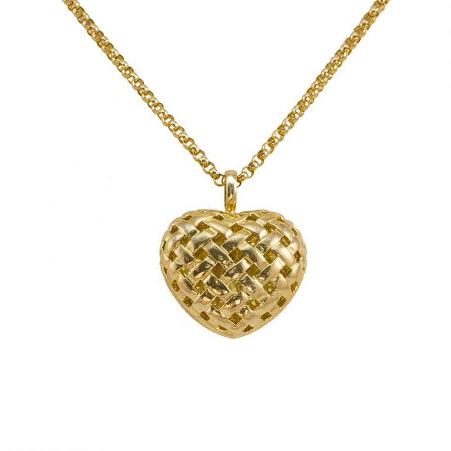 "Tiffany & Co. Vannerie woven heart on Tiffany 30"" rolo chain"