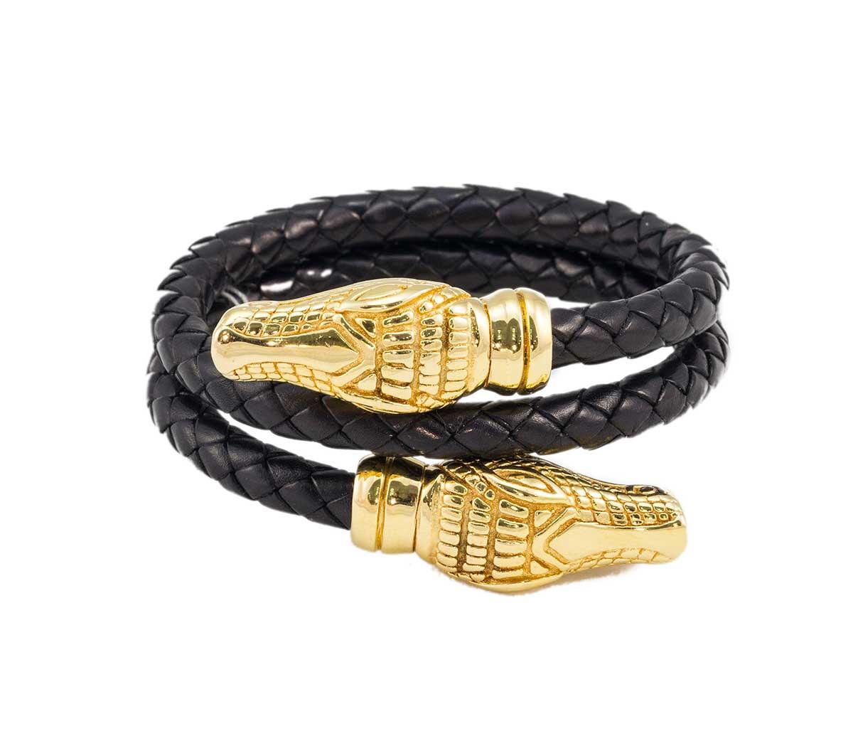 Gold Alligator Head with Black Leather Bracelet