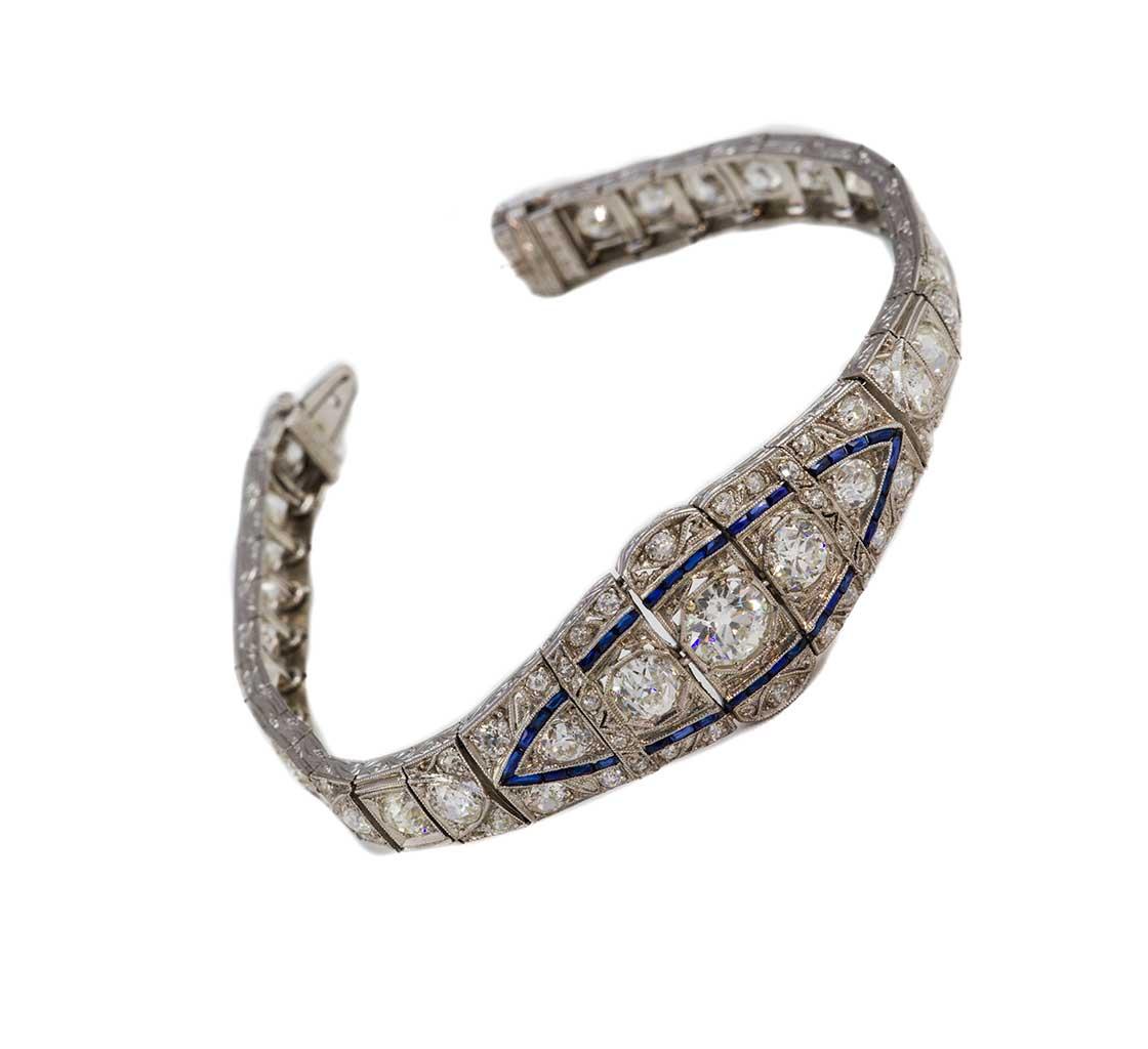 diamond and sapphire deco bracelet
