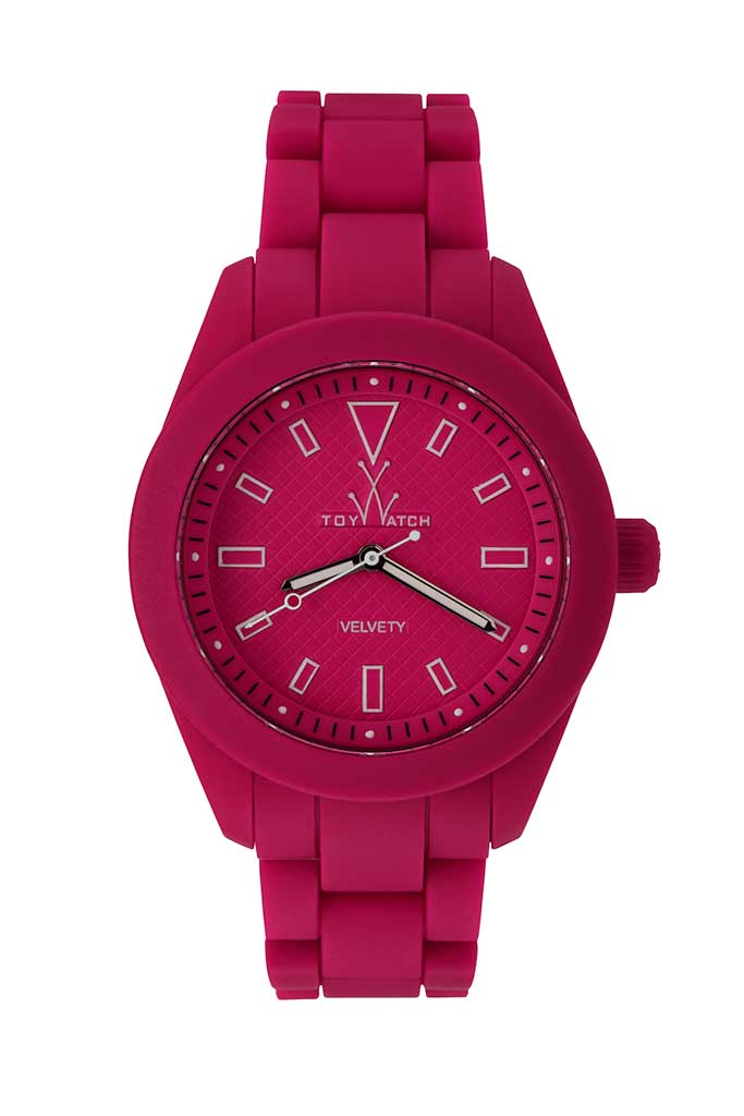 toy watch velvety only-time pink