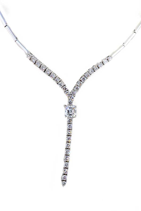Asscher Cut Diamond Necklace