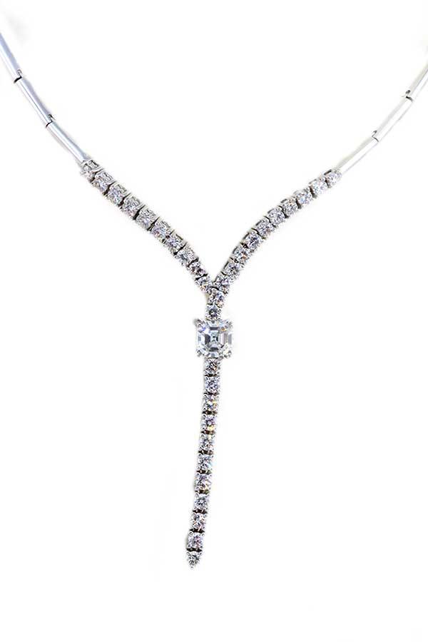 Asscher Cut Diamond Necklace