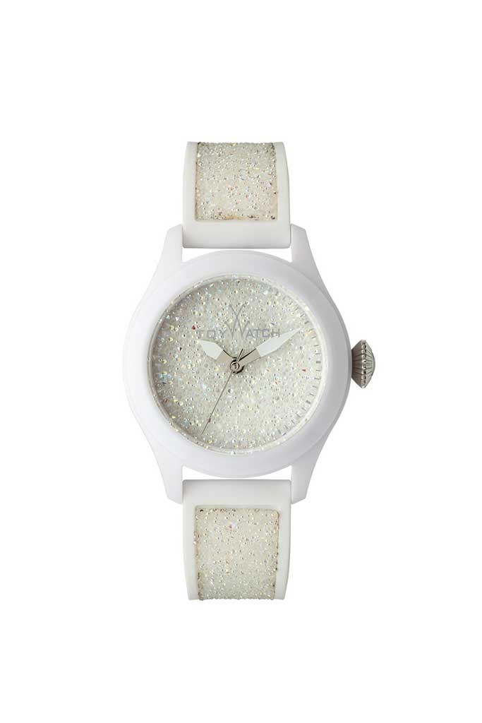 toy watch glitter only-time white