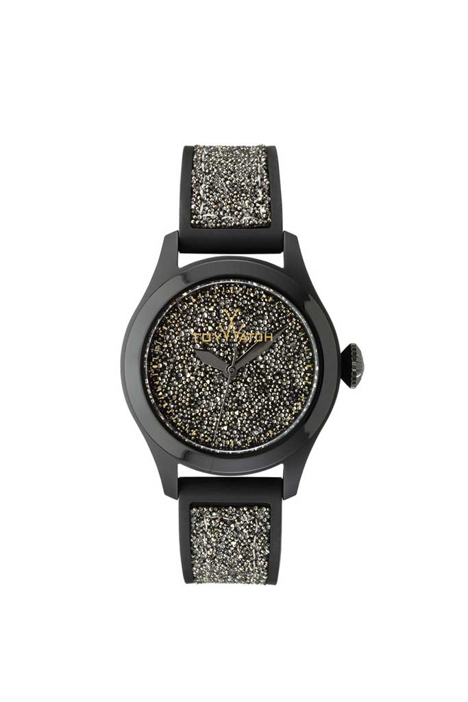 toy watch glitter only-time black and gold