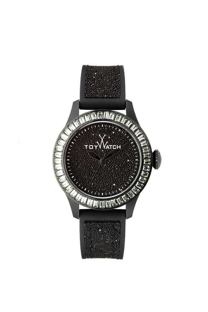 toy watch glitter only-time black
