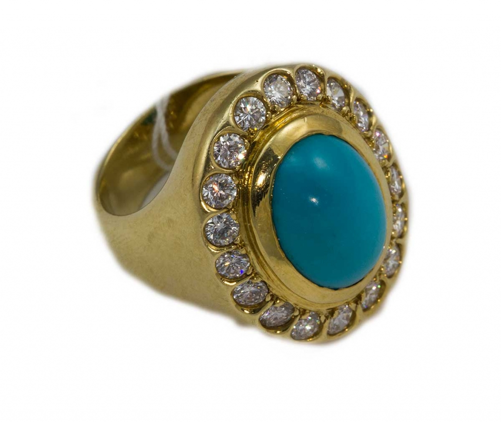 Turquoise diamond ring , brilliant diamonds total weight 1.18ct with turquoise center stone total weight 5.22