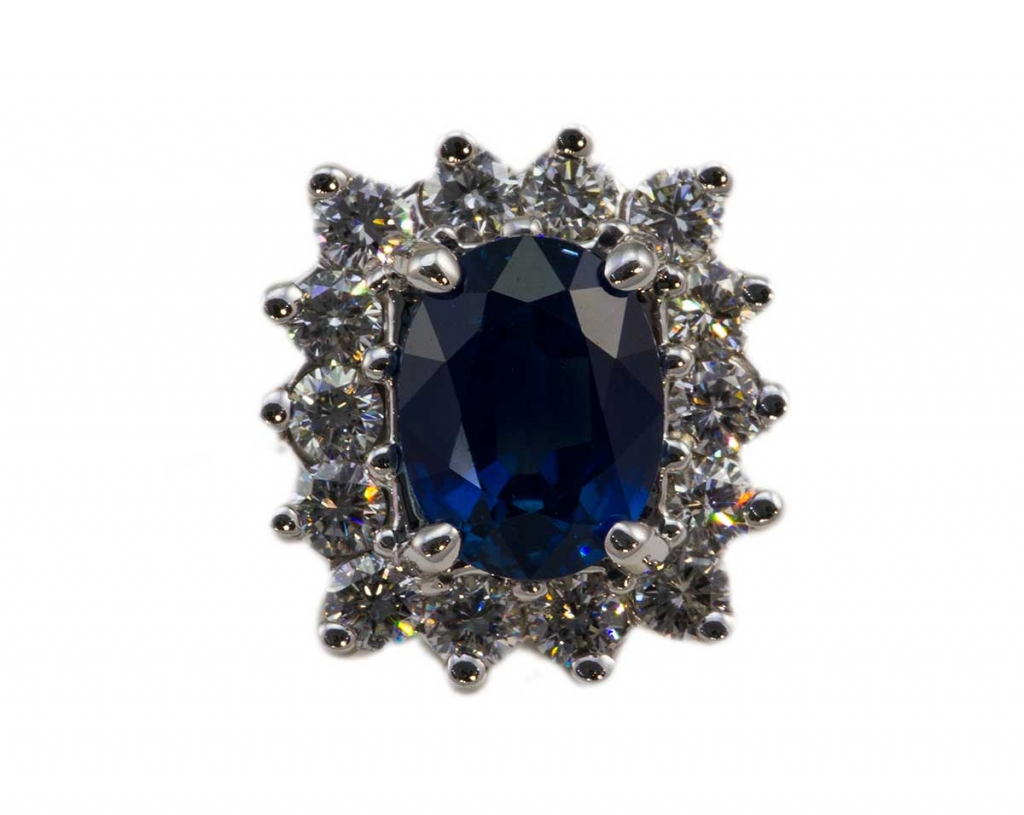 Oval Sapphire with Diamonds Ring