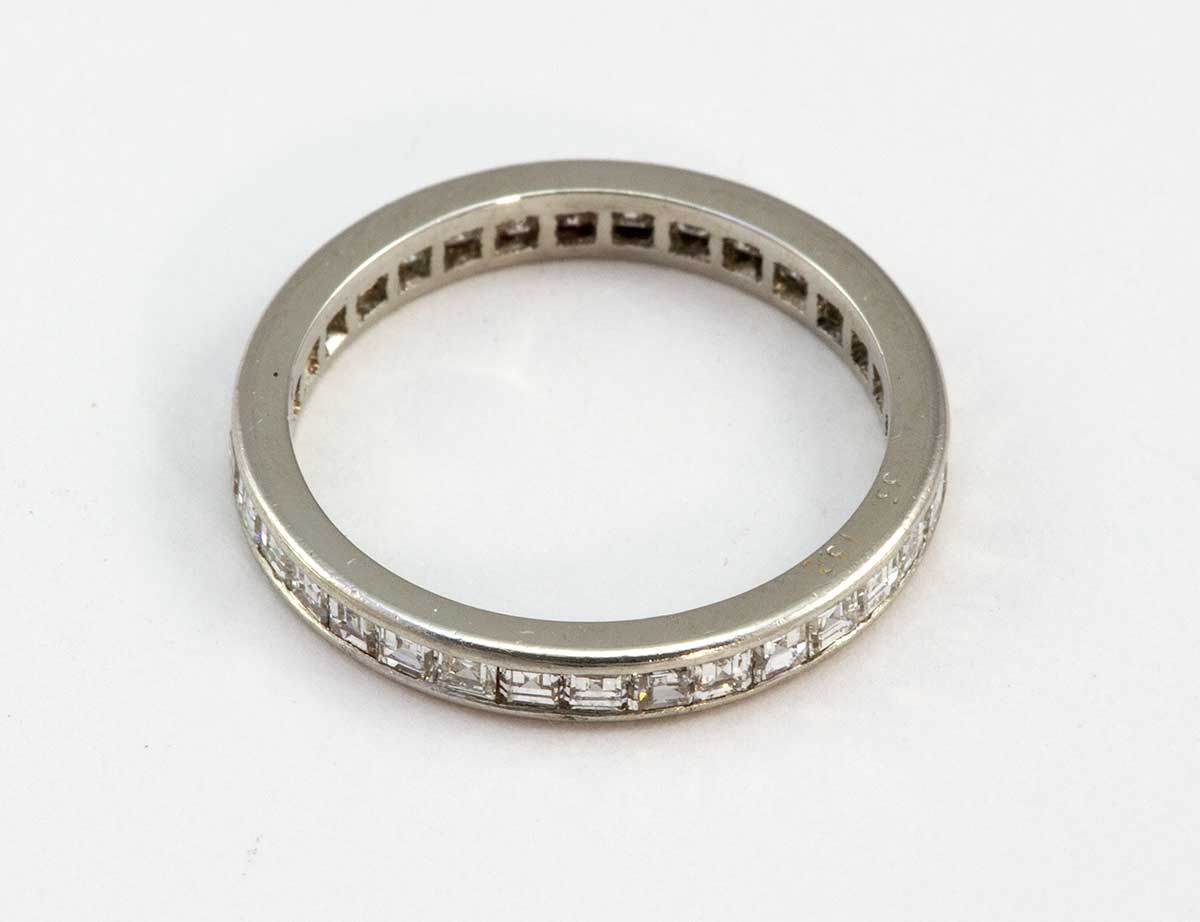 Diamond Ring Eternity Band Platinum Deco square step cut 1.75 cts. 34 diamonds size 5 3/4