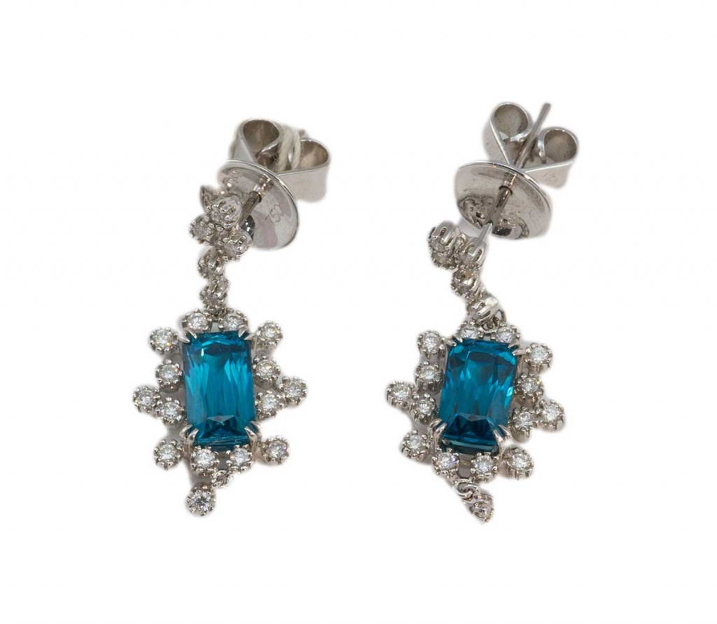 Diamonds with Blue Zirocn Earrings