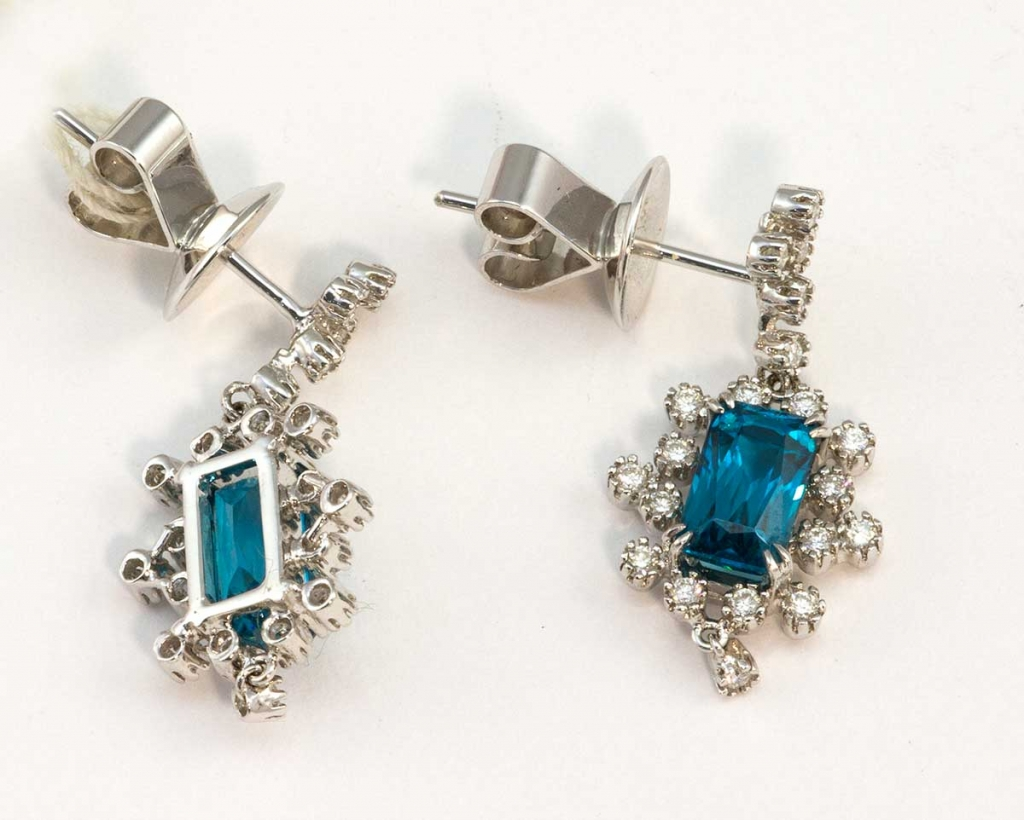 Diamonds and Blue Zirocn Earrings