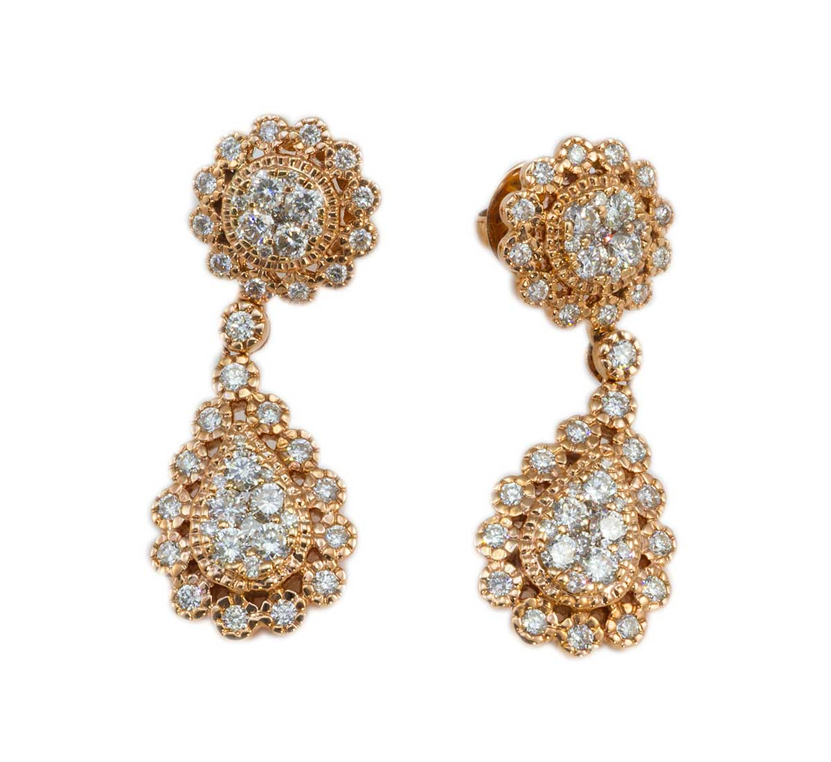 Rose Gold Pear Shaped Diamond Earrings