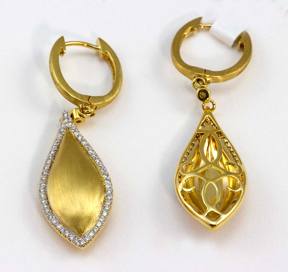 Drop earrings with pave diamond edging
