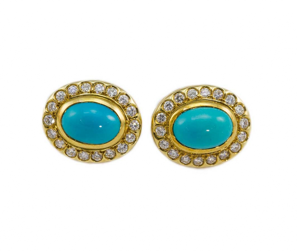 Persian turquoise and diamond earrings