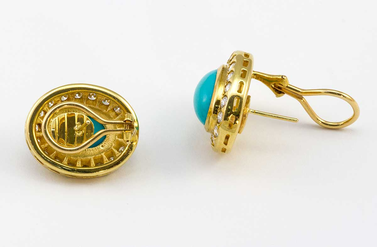 Persian turquoise and diamond earrings 14k yellow gold