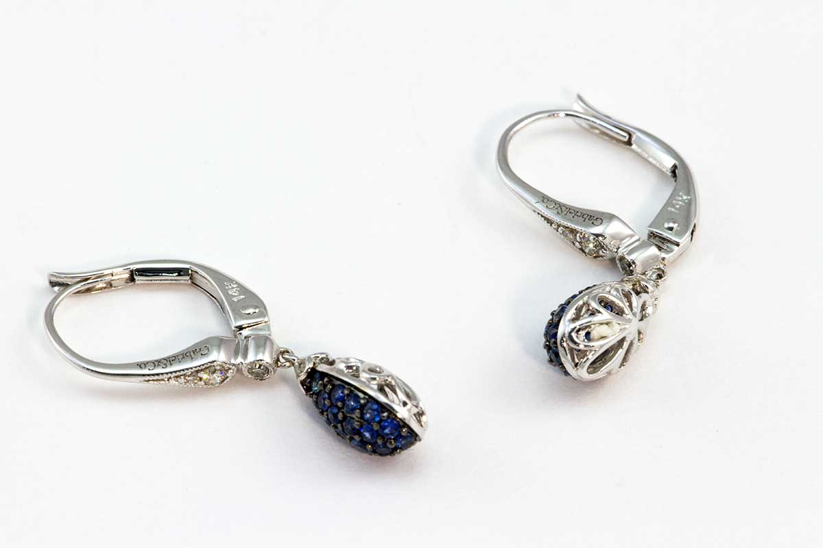 white gold diamond and sapphire drop earrings
