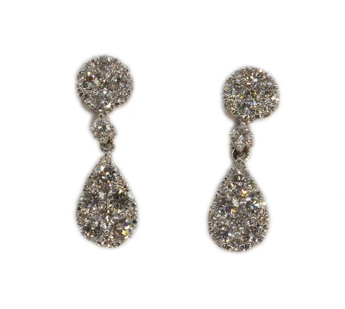 Pear Shaped Cluster Diamond Drop Earrings