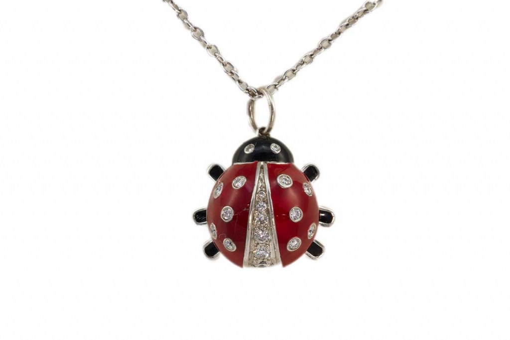 Tiffany & Co Diamond Lady Bug Enamel Necklace