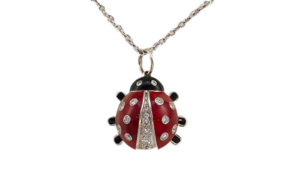 Tiffany & Co Diamond Lady Bug Enamel Necklace