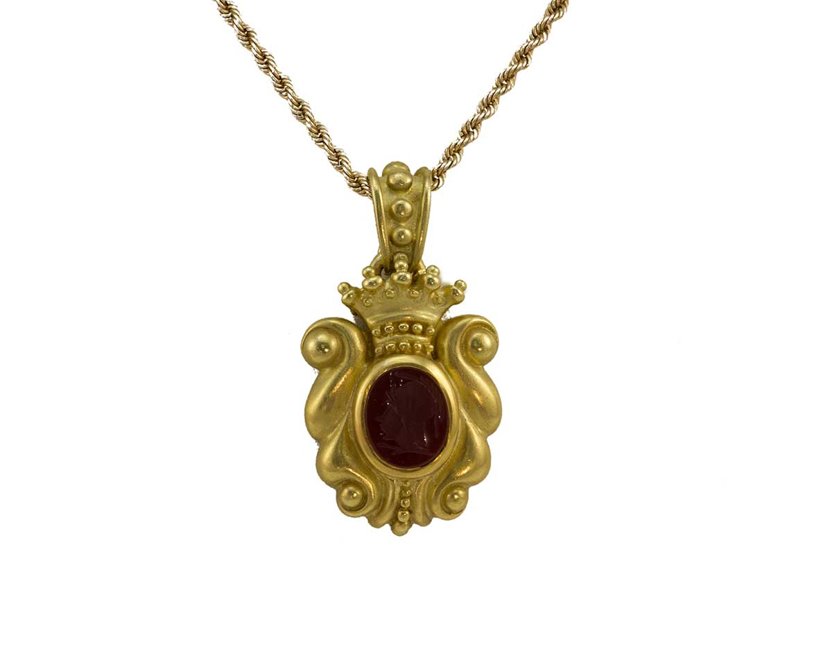 Vahe Naltchayan Carved Cameo Pendant Gold Rope Chain
