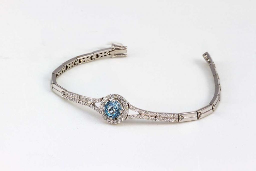 Diamond and Blue Topaz Bracelet