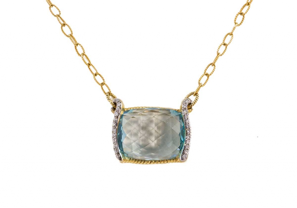 Rectangular Brio-cut Blue Topaz and diamonds Pendant
