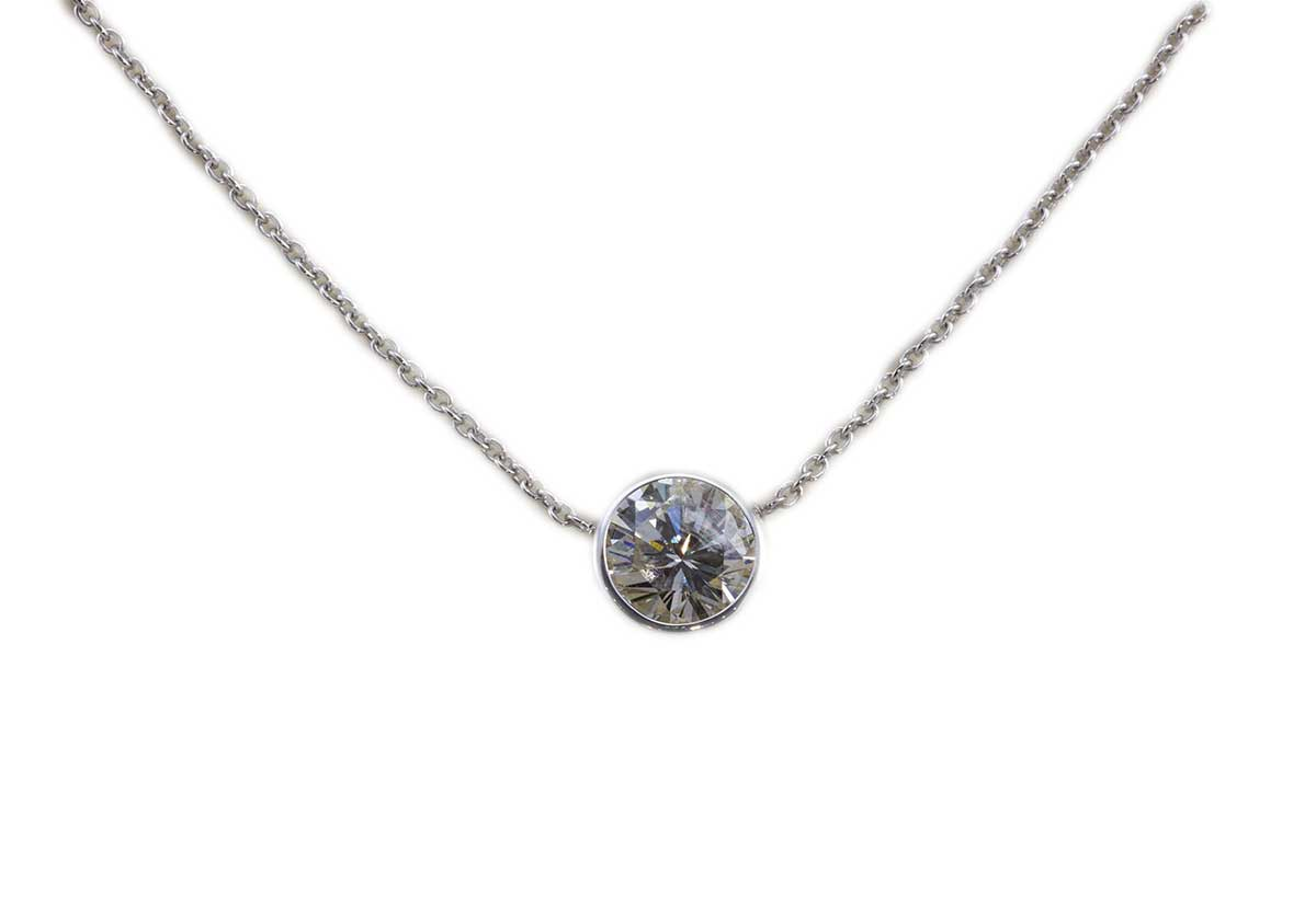 bezel set diamond necklace white gold