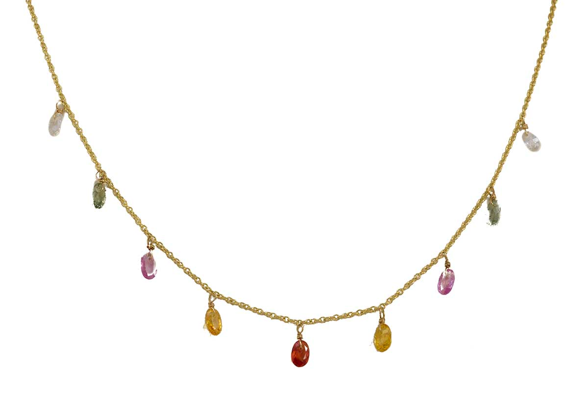 Multi-colored Faceted Sapphire Necklace