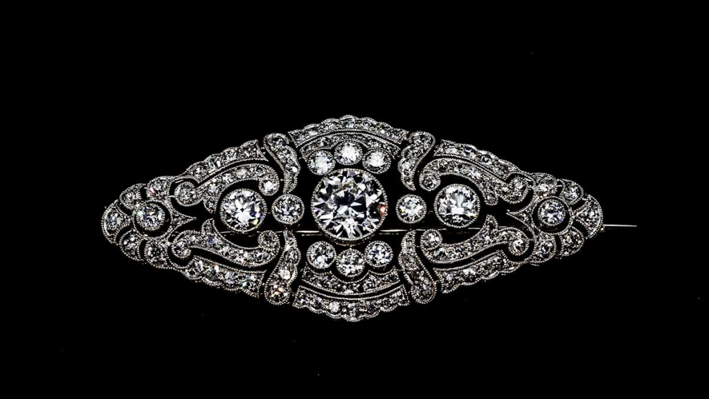 Diamond Platinum Brooch - Valia's Jewelers