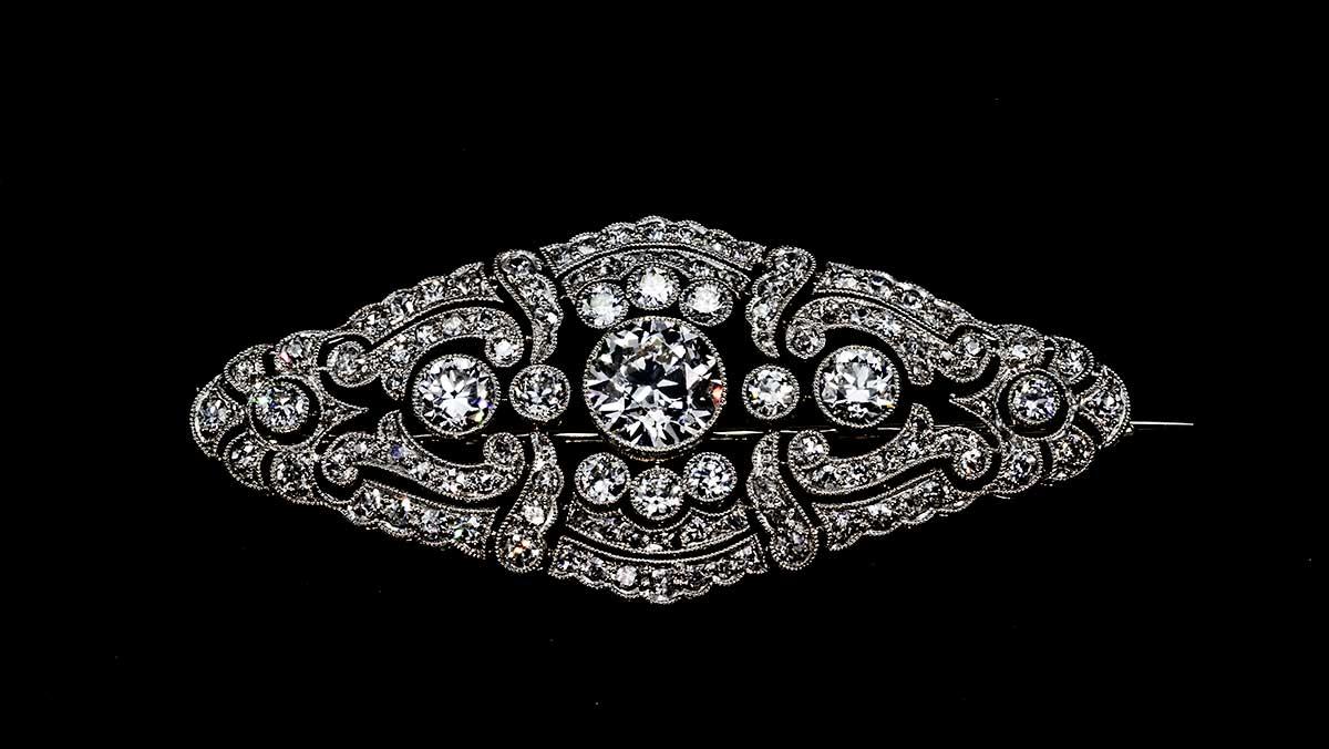 Diamond Platinum Brooch - Valia's Jewelers