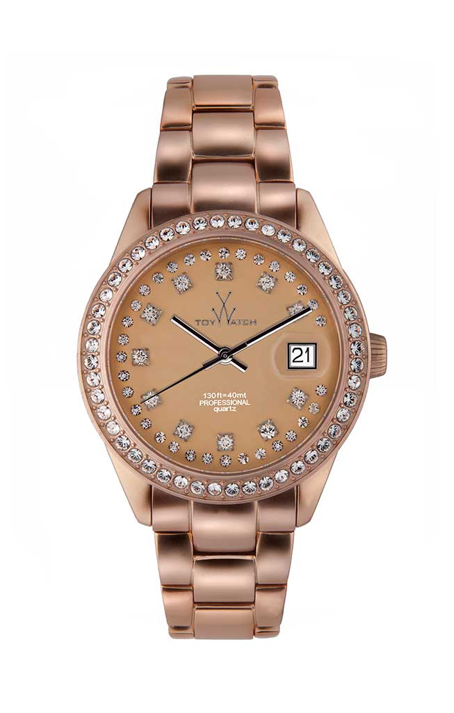 toy watch metallic only time pink gold