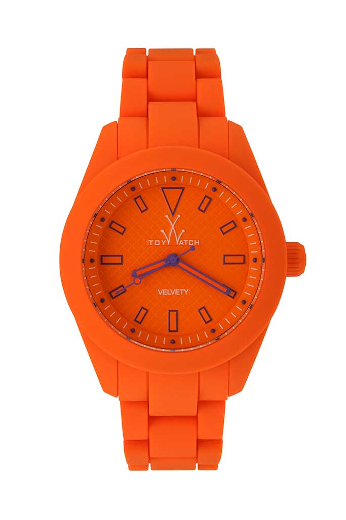 toy watch velvety only-time orange dial
