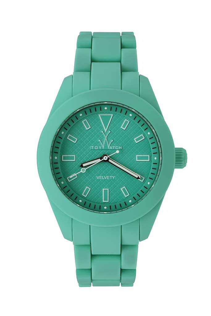 toy watch velvety only-time aqua green