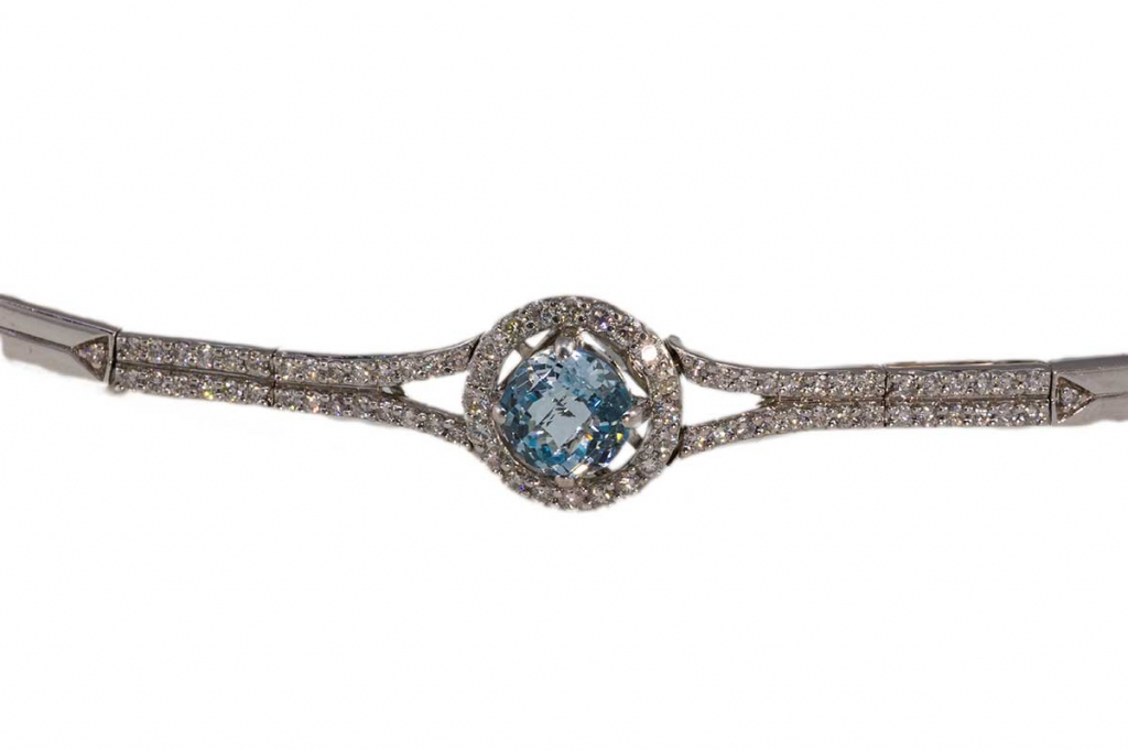 Diamond and Blue Topaz Bracelet