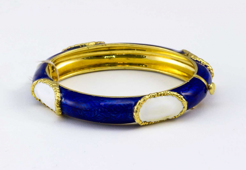 Cartier blue and white enamel bangle bracelet